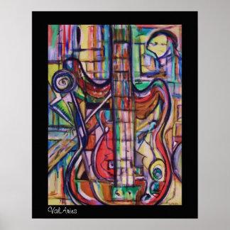 Het abstracte Poster van de Basgitaar door ValArie