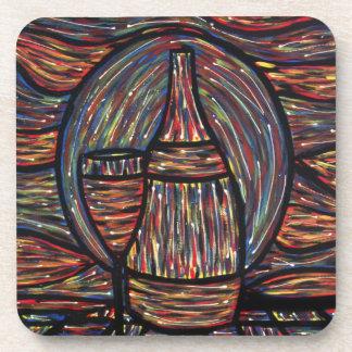 Het abstracte Schilderen van de Wijn Drankjes Onderzetters