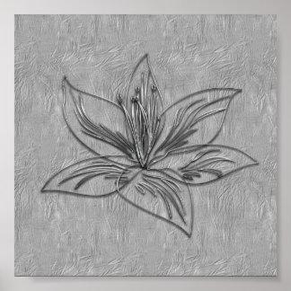 Het abstracte Zilveren Grijze Poster van de