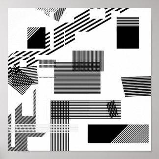 Het abstracte zwarte witte moderne patroon van de poster