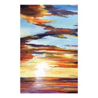 Het Acryl Schilderen van de zonsondergang Briefpapier
