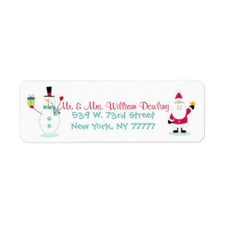 Het Adres van de Terugkeer van Kerstmis van de Etiket