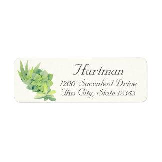 Het Adres van de Waterverf van Succulents Etiket