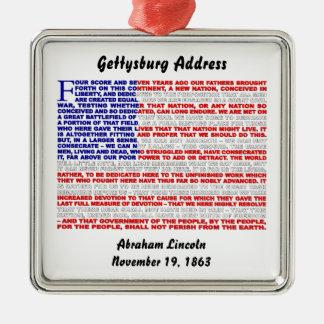Het Adres van Gettysburg Zilverkleurig Vierkant Ornament