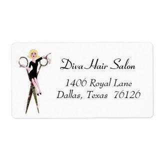Het Adresetiket van de Salon van het haar Etiket