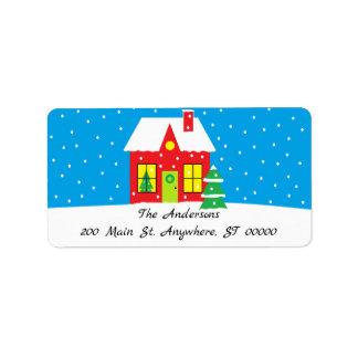 """Het Adresetiket van de vakantie """"van het Huis"""" Etiket"""