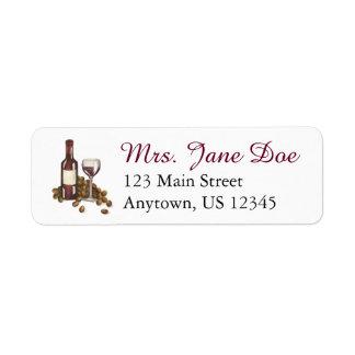 Het Adresetiket van de Wijnmakerij van de Wijn van Etiket