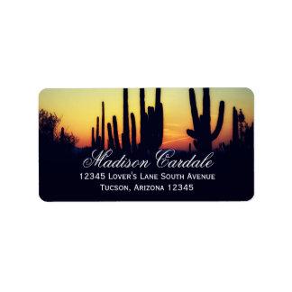 Het Adresetiket van de Zonsondergang van de Cactus Etiket