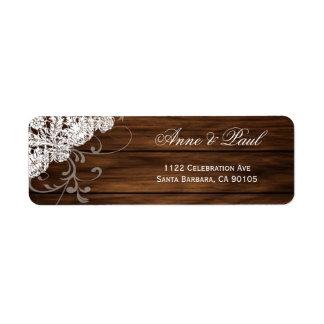 Het Adresetiket van het Huwelijk van het hout & Retouretiket
