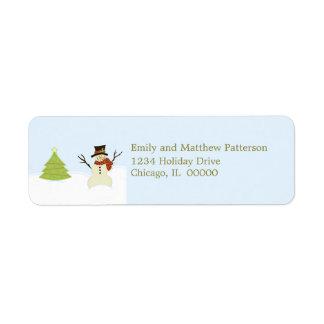 Het Adresetiket van Kerstmis van de sneeuwman en Etiket