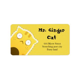 Het adresetiket van M. Ginger Cat Addressticker