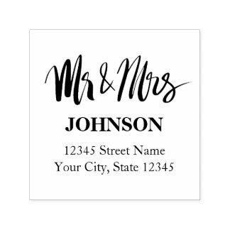 Het adreszegel van M. en van Mevr. van de douane Zelfinktende Stempel