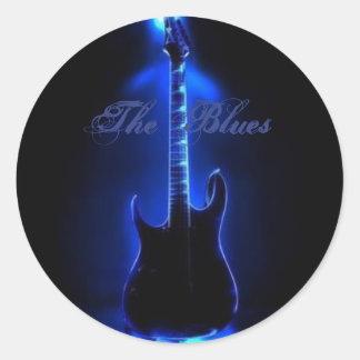 Het afbeelding van de Gitaar van Blauw op Ronde Ronde Sticker