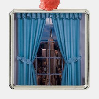 Het afbeelding van New York voor het Vierkante Zilverkleurig Vierkant Ornament