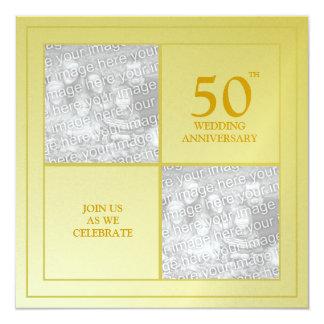 Het afgelopen & Huidige Gouden Jubileum van de 13,3x13,3 Vierkante Uitnodiging Kaart