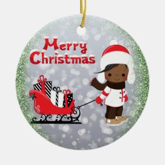 Het Afrikaanse Amerikaanse Ornament van Kerstmis