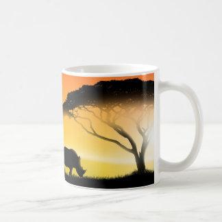 Het Afrikaanse landschap van de illustratie Koffiemok