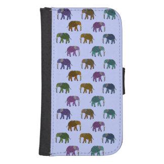 Het Afrikaanse Patroon van Olifanten Galaxy S4 Portemonnee Hoesje