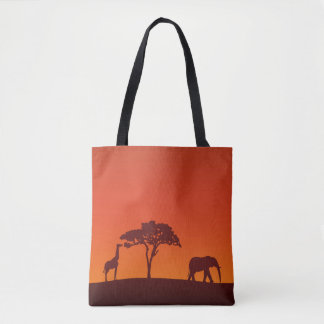 Het Afrikaanse Silhouet van de Safari helemaal Draagtas