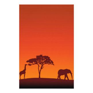 Het Afrikaanse Silhouet van de Safari - het Briefpapier