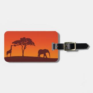 Het Afrikaanse Silhouet van de Safari - het Label Bagagelabel