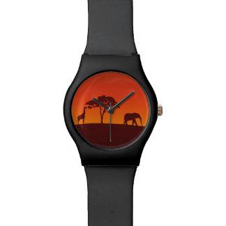 Het Afrikaanse Silhouet van de Safari - Horloge