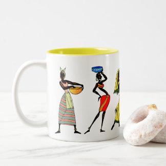 Het Afrikaanse StammenLeven van Vrouwen Uw Tweekleurige Koffiemok