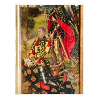 Het afschilderen van donor van altaarstuk, Michel Briefkaart