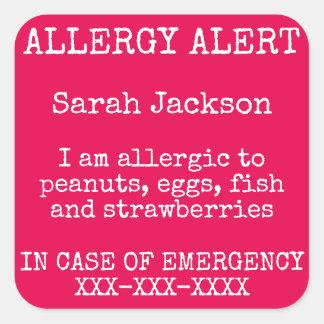 Het Alarm van de Allergie van het voedsel Vierkante Sticker