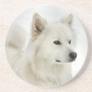 Het Amerikaanse EskimoArt. van de Hond Zandsteen Onderzetter