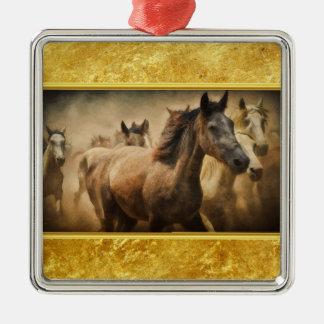 Het Amerikaanse Paard van het Kwart met een gouden Zilverkleurig Vierkant Ornament