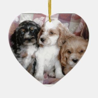 Het Amerikaanse Puppy van de Cocker-spaniël Keramisch Hart Ornament