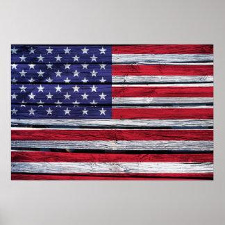 Het Amerikaanse Rustieke Hout van de Vlag Poster