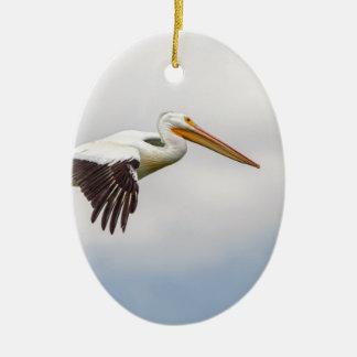 Het Amerikaanse Witte Kruisen van de Pelikaan Keramisch Ovaal Ornament