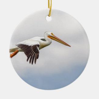 Het Amerikaanse Witte Kruisen van de Pelikaan Rond Keramisch Ornament