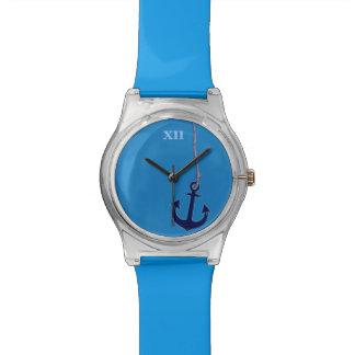 het anker van het maritieme blauwe schip horloge