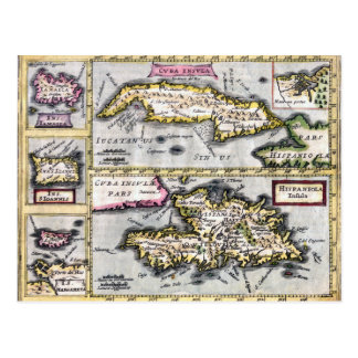 Het Antiek Briefkaart van de Kaart Cuba en