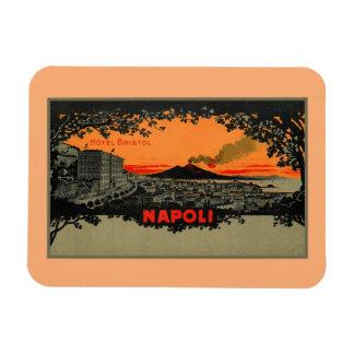 Het antiek Hotel Bristol Napels Napoli van litho Magneet
