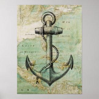 Het antiek ZeevaartPoster van de Kaart & van het Poster