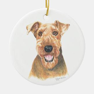 Het Art. van Airedale Terrier Rond Keramisch Ornament