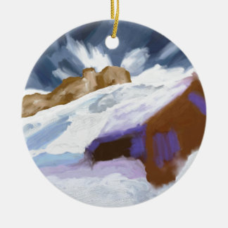 Het Art. van de Bergen van de winter Rond Keramisch Ornament