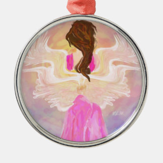 """Het Art. van de Engel """"onder ogen ziend van The Zilverkleurig Rond Ornament"""