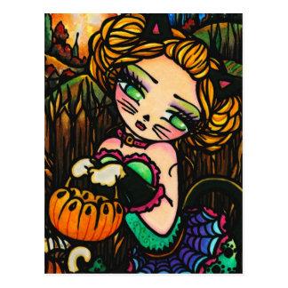 Het Art. van de Fantasie van het Meisje van de Kat Briefkaart