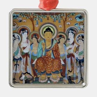 Het Art. van de Holen van Boedha en van Zilverkleurig Vierkant Ornament