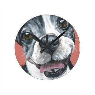 Het art. van de Hond van Boston Terrier Ronde Klok Medium
