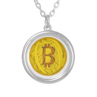 Het Art. van de Krabbel van Bitcoin Zilver Vergulden Ketting