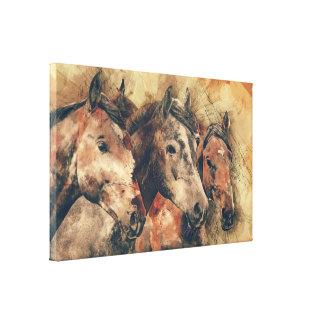 Het Art. van het Canvas van drie Paarden