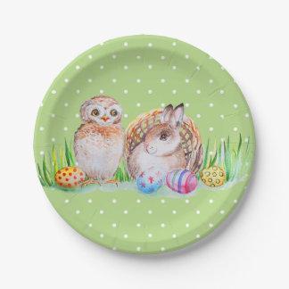 Het art. van Pasen van de uil en van het konijntje Papieren Bordje