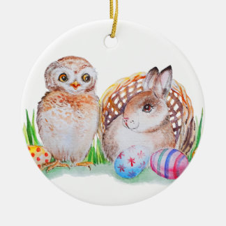 Het art. van Pasen van de uil en van het konijntje Rond Keramisch Ornament