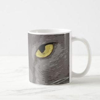 Het artistieke Grijze Gezicht van de Kat Koffiemok